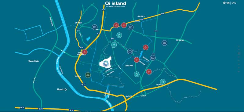 vi tri du an Qi Island