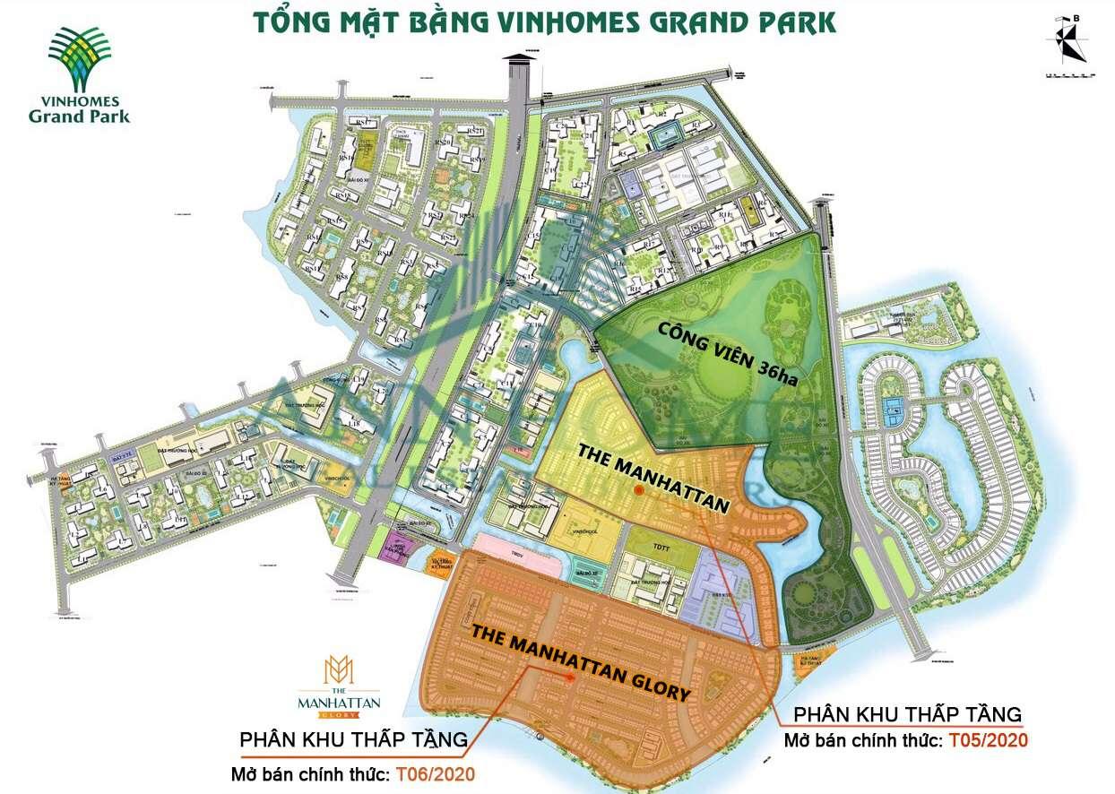 vi tri phan khu the manhattan glory trong vinhomes grand park